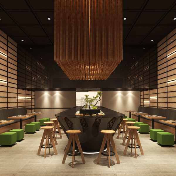 Decoración y Mobiliario Restaurante Japonés Moderno